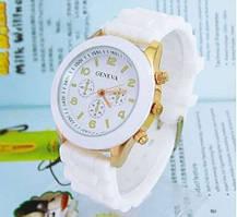 Женские часы с силиконовым браслетом geneva, кварцевый механизм, удобный ремешок, цвета в ассортименте