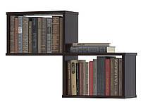 Полка для книг настенная из ДСП ламинированного из двух секций, Венге, Белая и Дуб Шамони.