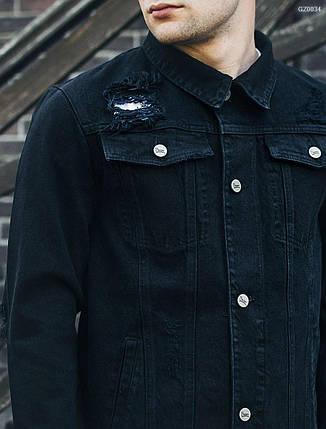 a980431adb7 Купить Мужская черная джинсовая куртка Staff black destroy GZ0034 в ...