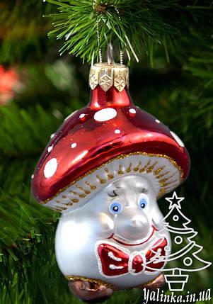 Стеклянная елочная игрушка Гриб Мухомор с бабочкой 0028, фото 2