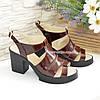 Кожаные  коричневые женские босоножки на широком устойчивом каблуке, фото 4