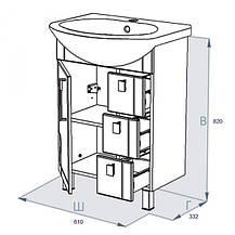 Тумба с умывальником Тритон Диана-60 (L/R)  и ящиками, фото 2