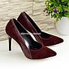 Классические женские туфли на шпильке, цвет бордо, фото 4
