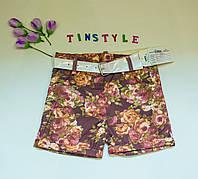 Яркие хлопковые шорты для девочки 5-6 .7-8 лет, фото 1