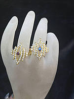 Кольцо под золото Ромб с камнями