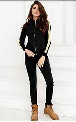 Спортивный женский черный костюм: кофта с капюшоном и штаны с блестящими лампасами большие размеры