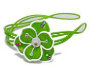 Обруч для волос, пластик, зеленый с цветком, ширина 20 мм, (1 шт)