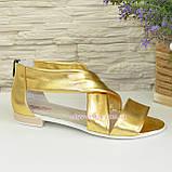 Кожаные женские босоножки римлянки, цвет золото, фото 4