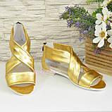 Кожаные женские босоножки римлянки, цвет золото, фото 5