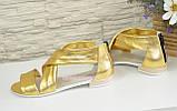 Кожаные женские босоножки римлянки, цвет золото, фото 6