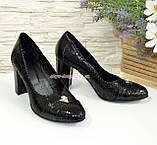 Туфли женские на высоком каблуке, натуральный лак и замш, фото 2