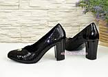 Туфли женские на высоком каблуке, натуральный лак и замш, фото 3