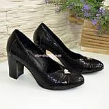 Туфли женские на высоком каблуке, натуральный лак и замш, фото 4