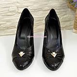 Туфли женские на высоком каблуке, натуральный лак и замш, фото 5