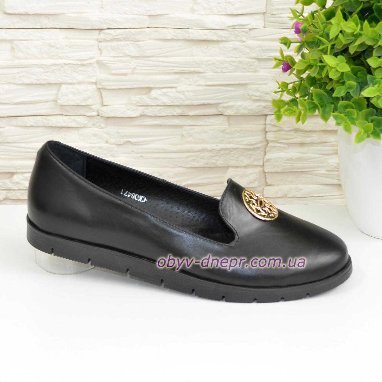 Туфли черные женские кожаные на утолщенной подошве, фото 1