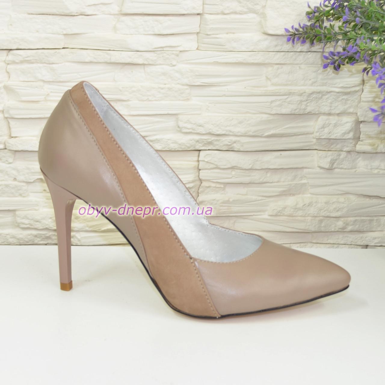Классические женские туфли на шпильке, цвет визон/беж, фото 1