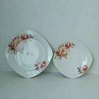 Тарелка квадратная 8 мелкая Корейская роза 17-023