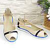 Женские кожаные балетки с открытым носочком. Цвет бежевый, синий, фото 2