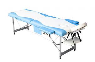 Массажный стол PBT, 2 сегментный, алюминьевый Голубой, фото 2
