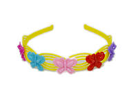 Обруч для волос, желтый, разноцветные бабочки, ширина 22 мм