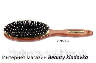 Масажнаий гребінець дерев'яний Salon Professional (зуби пластик + щетина)