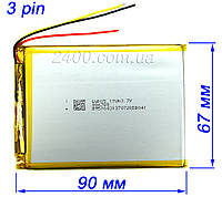 Аккумулятор 4100мАч 486690 мм 3,7в универсальный для планшета 3.7v (4100mAh) 3-х проводной, фото 1