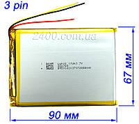 Акумулятор 4100мАч 486690 мм 3,7 в універсальний для планшета 3.7 v (4100mAh) 3-х провідний, фото 1