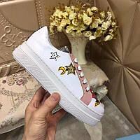 Кожаные кеды, кроссовки Прада Leather Sneakers, фото 1