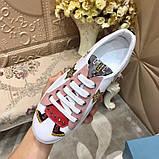 Кожаные кеды, кроссовки Прада Leather Sneakers, фото 6
