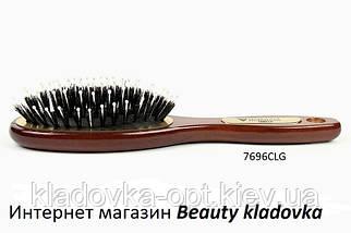 Расчёска массажная Salon Professional 7696 CLG деревянная (зубья пластик + щетина)