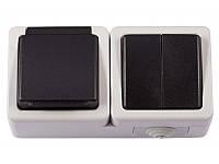 Блок двойной выключатель + розетка с/з и крышкой Luxel DEBUT