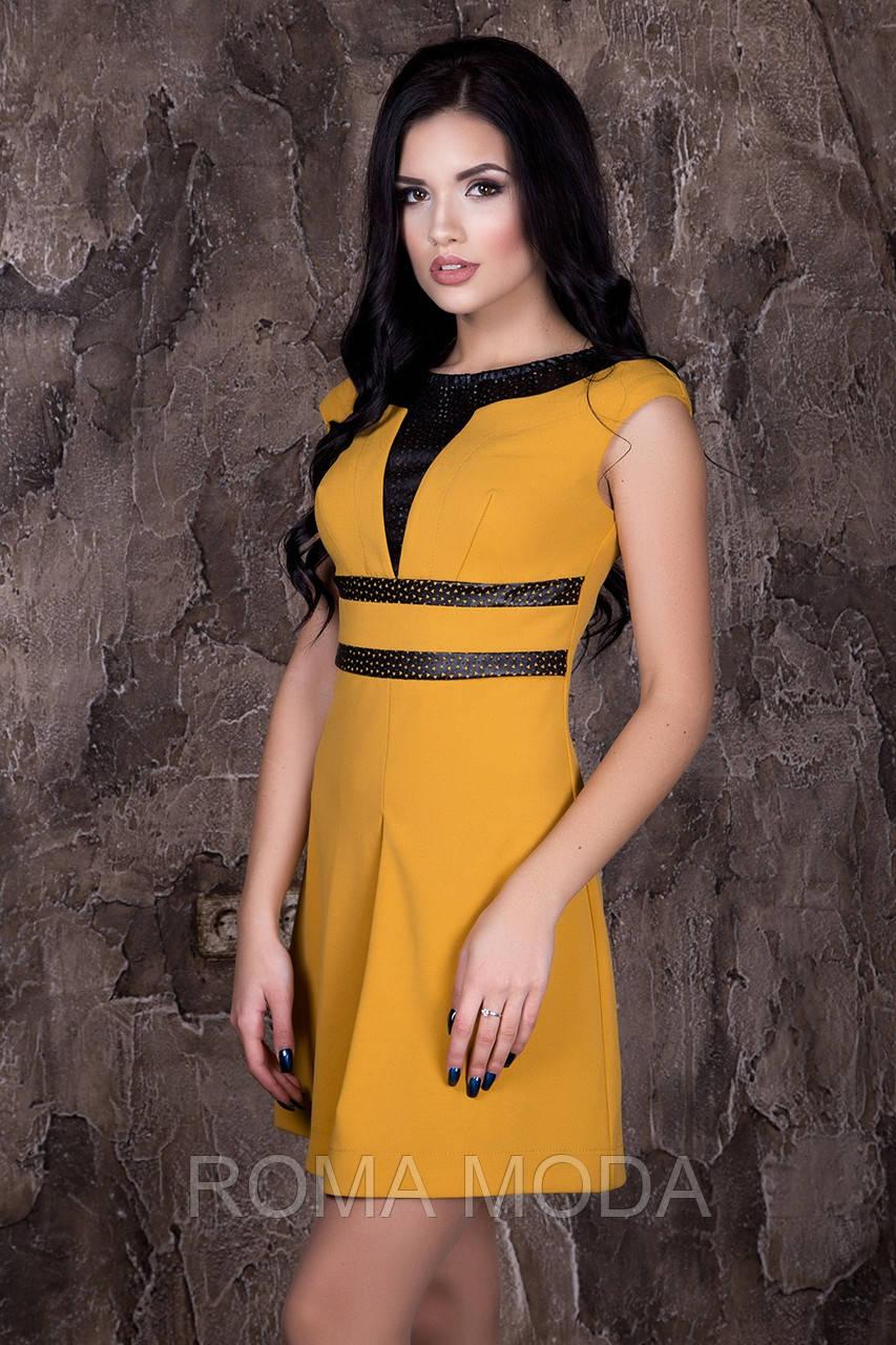 Стильное платье со вставками Тату в 4х цветах