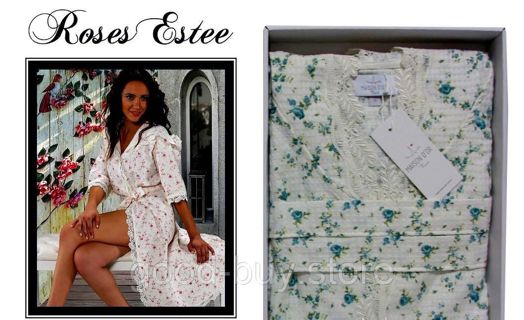 2635bd9139308 Женский халат премиум класса с кружевом Maison D`or Paris коллекции Росес  Камиле. Для пошива халата использованны только натуральные ткани из хлопка.