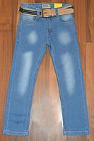 Голубые стрейчевые джинсы для мальчиков, р.6