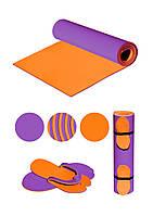 Коврик (каремат) EVA-FITфиолетово-оранжевый + шлепанцы в подарок. 1900х650х6
