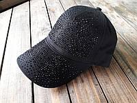 Бейсболка, кепка женская черная со стразами, фото 1
