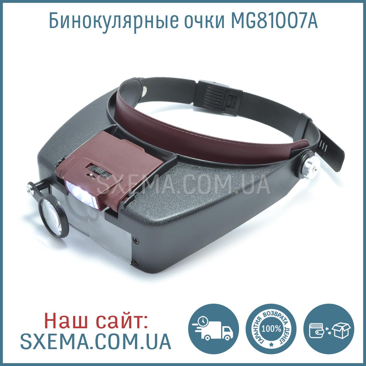 Бинокулярные лупы очки MG81007A (1,5Х 3Х 6,5Х 8Х) c Led подсветкой, фото 1