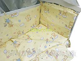 """Постільний набір в дитячу ліжечко (8 предметів) Premium """"Ведмедики на хмарі"""" бежевий"""