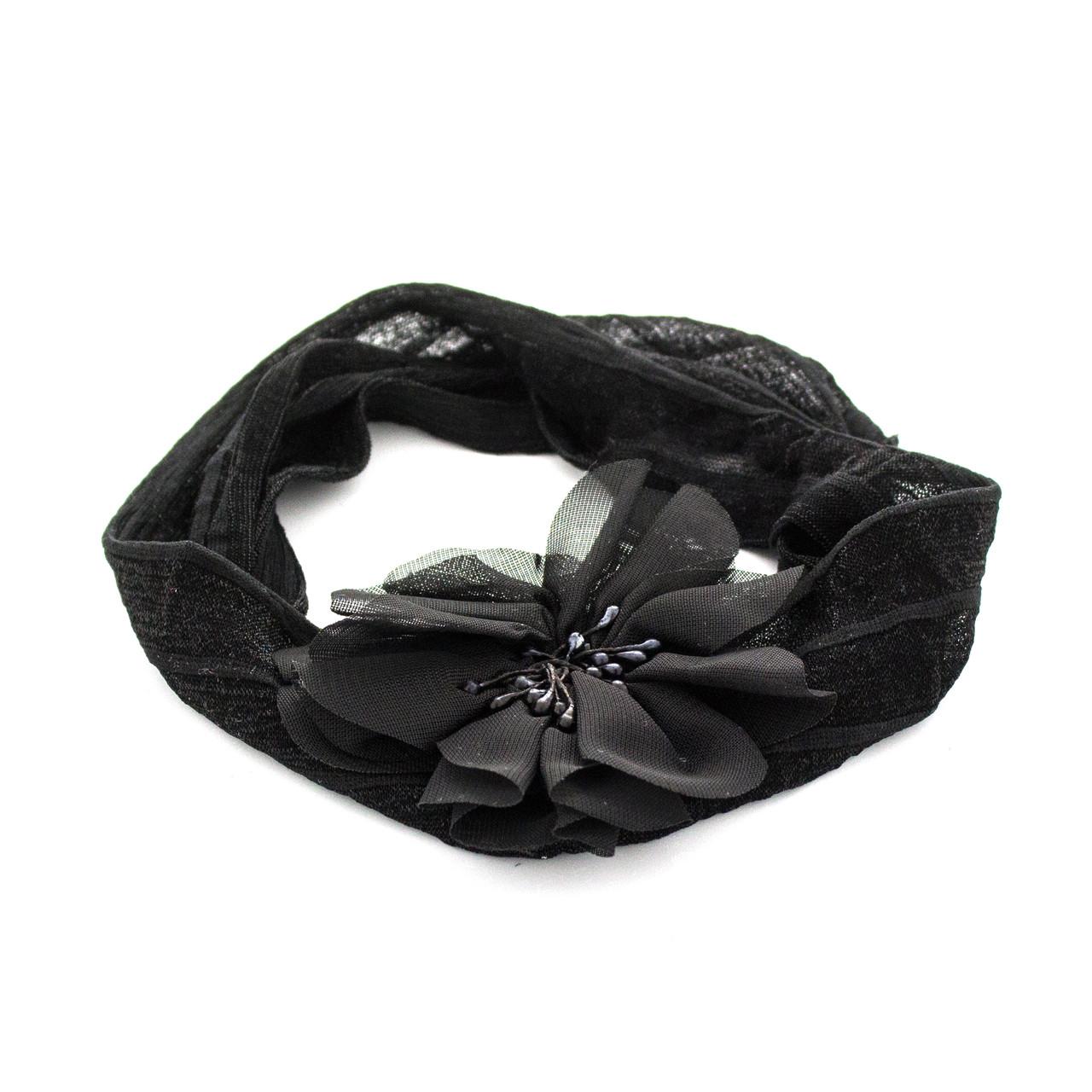 Шифоновая детская повязка на голову Мак черная