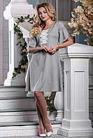 Летнее Свободное Платье из Коттона с Вышивкой Серое М-2XL, фото 1