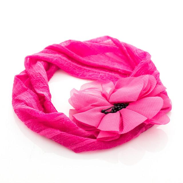 Шифоновая детская повязка на голову Мак розовая