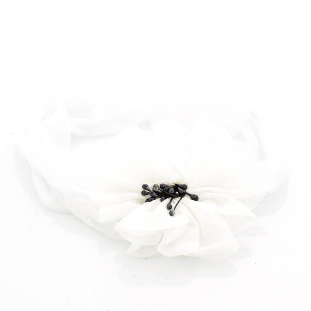 Шифоновая детская повязка на голову Мак белая