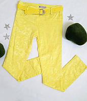 Брюки на девочку, принт хаки, размер 28-36, желтый