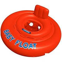 Детский надувной круг-плотик для плавания Intex 56588, со спинкой, оранжевый, 76 см