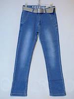 Голубые стрейчевые джинсы для мальчика,р.146