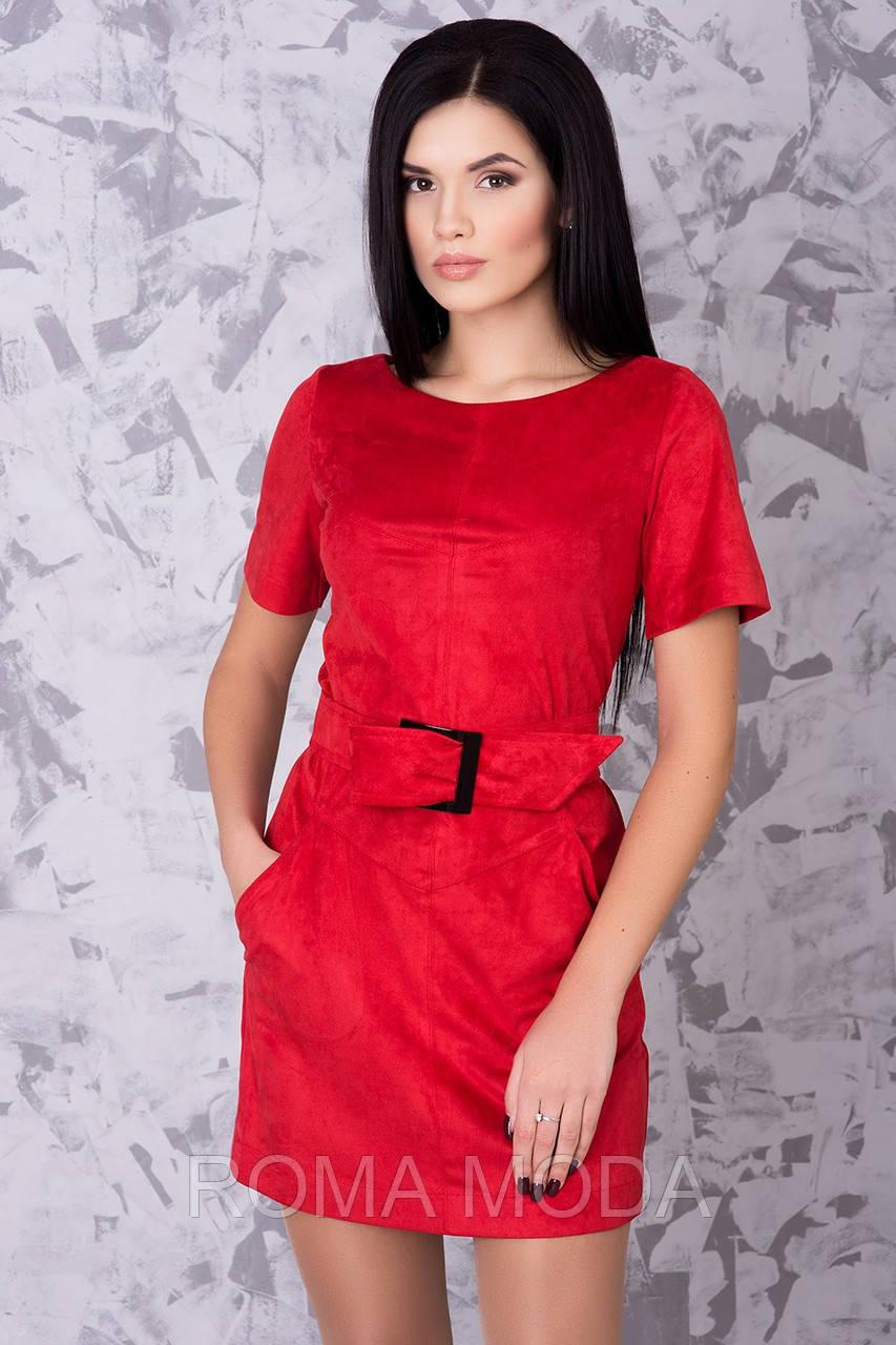 Женское платье короткое из замши в 4х цветах Микелла