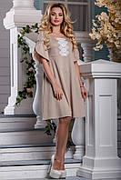 Летнее Свободное Платье из Коттона с Вышивкой Светло-Кофейное М-2XL, фото 1