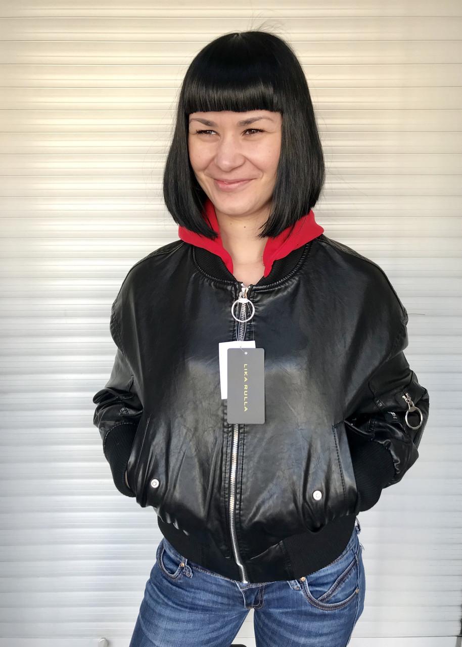 Куртка женская под резинку из экокожи черная короткая