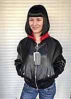 Куртка женская под резинку из экокожи черная короткая, фото 1