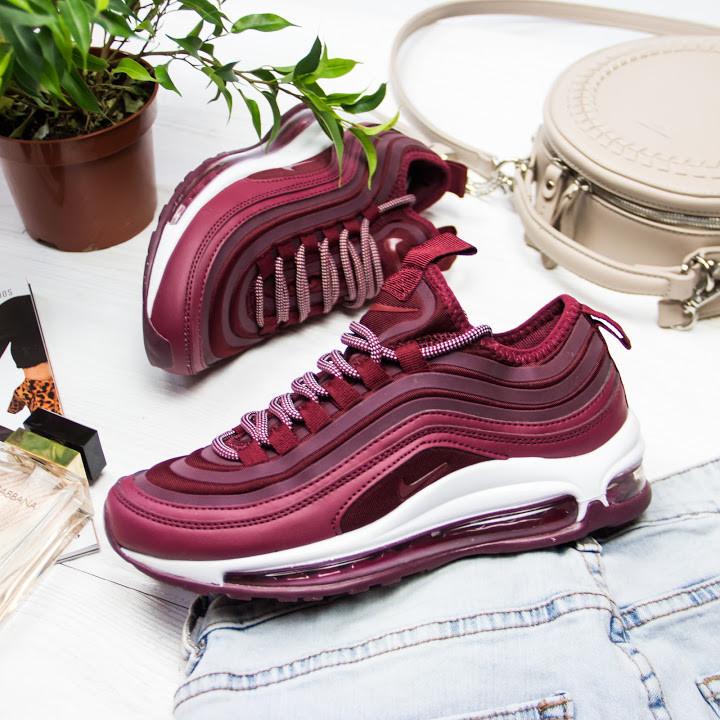 Женские кроссовки в стиле Nike Air Max 97 Bordeaux (36, 37, 38, 39, 40, 41 размеры)